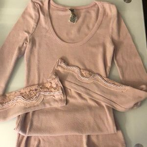 Free People XS Pink Thermal Long Sleeve Top